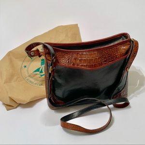 Vintage Brahmin Black & Tan Leather Shoulder Bag